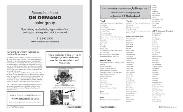 Mamazina Magazine, pages 12 and 13